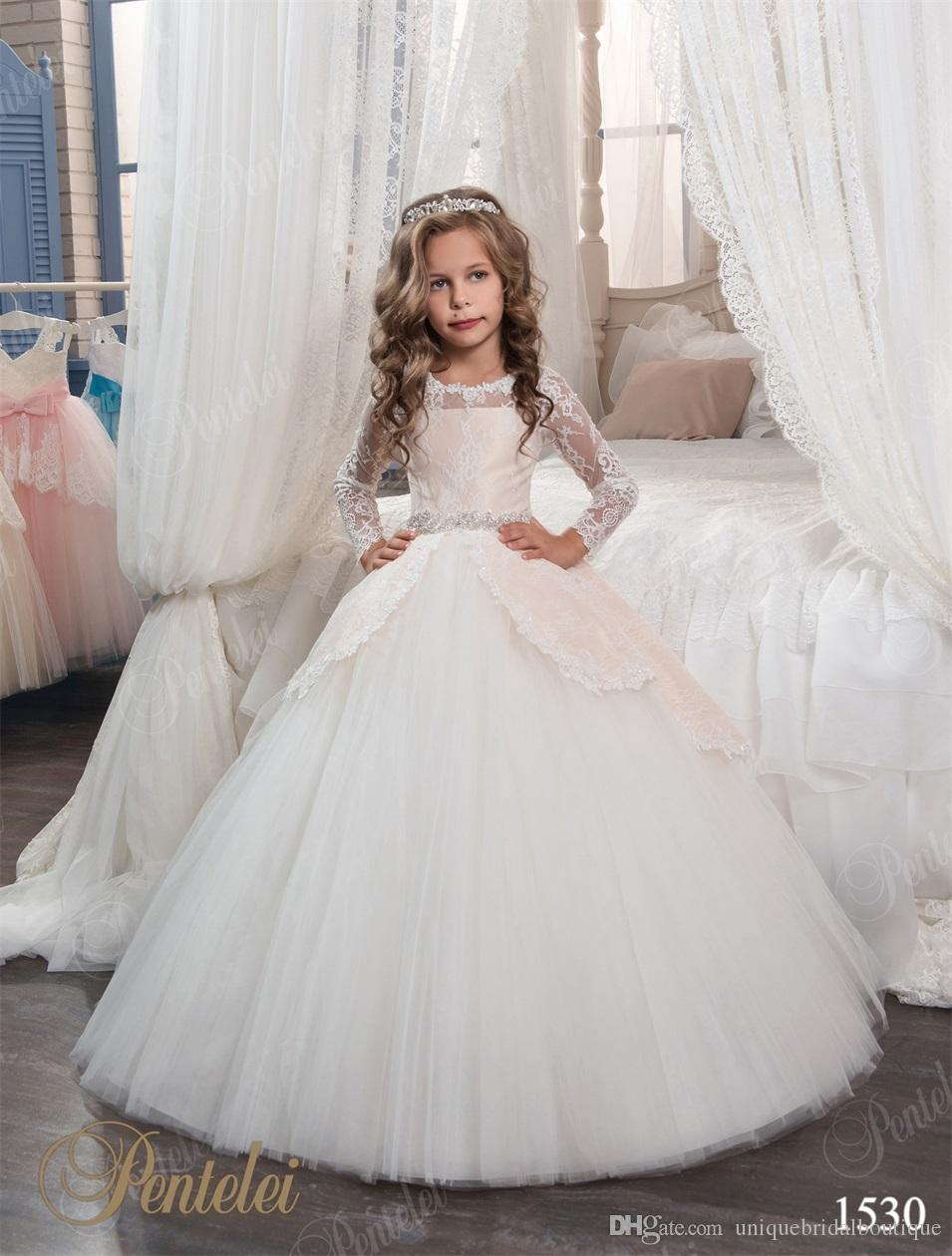 Cute Flower Girls Dresses With Long Sleeves And Beaded