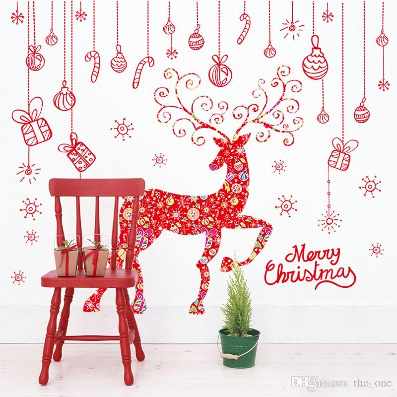Merry Christmas Hanging Pieces Elk Deer Wall Stickers Festival Wall Decals for Room Glass Window Home Decor in stock