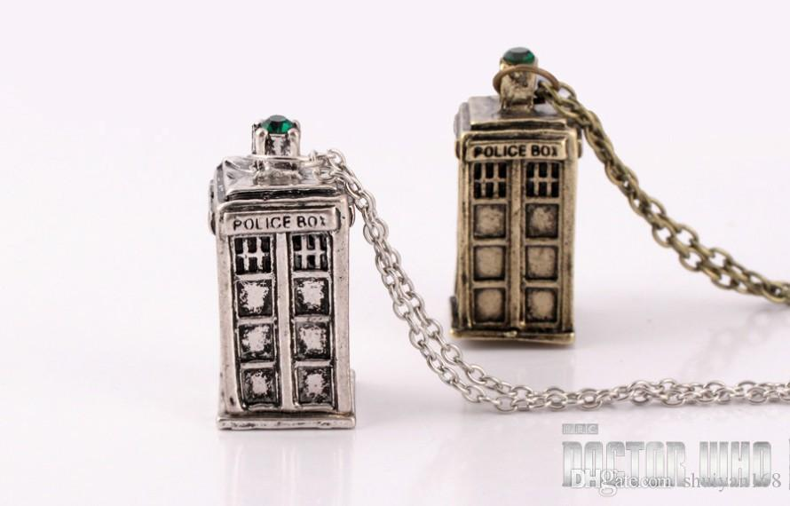 Police Box Pendant Necklace Telephone Booth necklace Doctor who Tardis pendant necklace Mysterious Doctor Chains Jewelry Christmas Gift