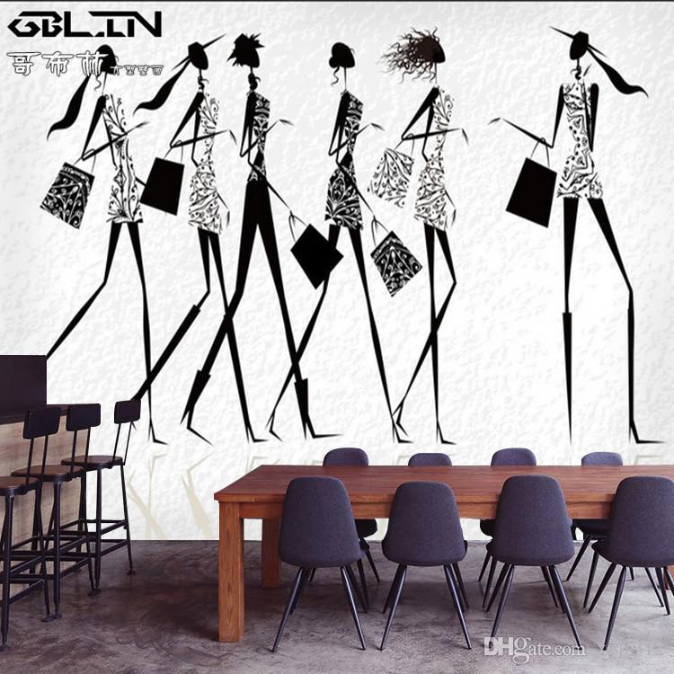 2f839e702 Compre Art Wallpaper 3D Loja De Roupas De Salão De Moda De Moda Mulheres  Preto E Branco Mural Papel De Parede Fundo De Xyls312