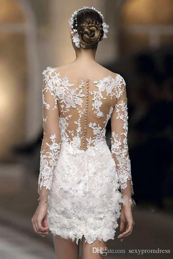 Sexy weiße Spitze Applique Mini Brautkleider Illusion Langarm Mantel V-Ausschnitt Brautkleider Custom Made Brautkleider