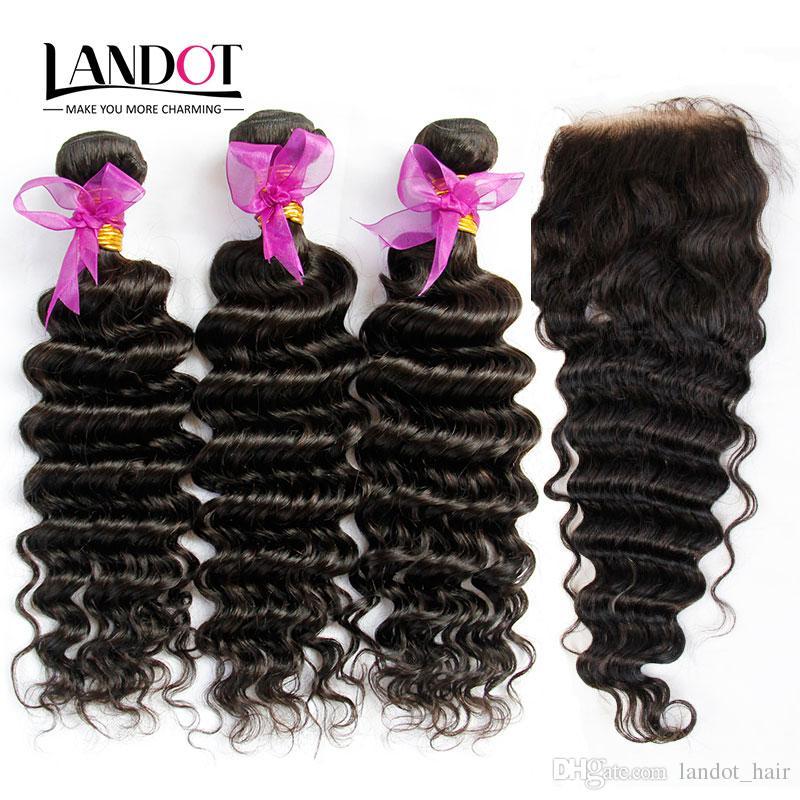 Peruvian Malaysian Indian Cambodian Brazilian Deep Wave Virgin Hair 3 Bundles with Top Lace Closures Deep Curly Mink Remy Human Hair Weaves