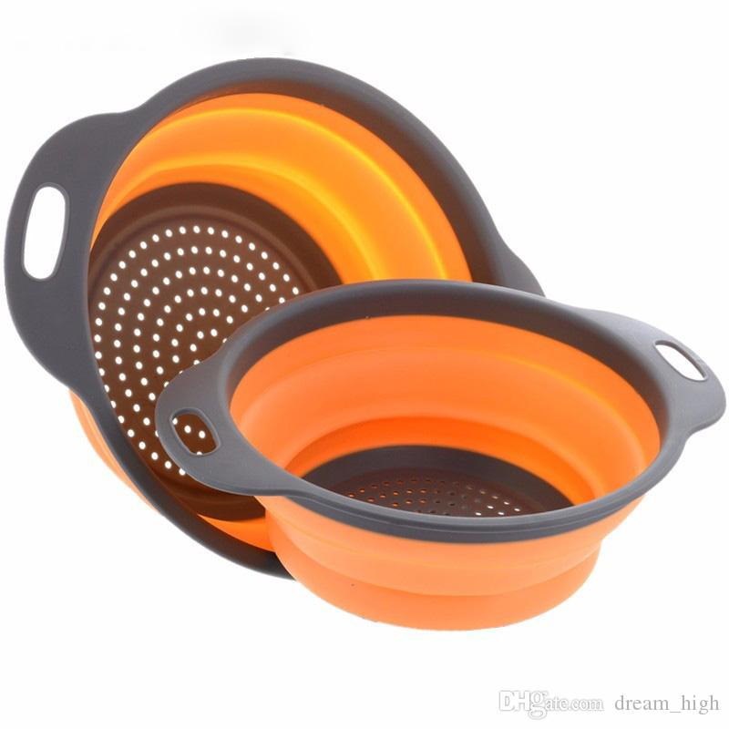 Collapsible Silicone Colander Folding Mesh Colander Fruit Vegetable Strainer Home kitchen Accessories Tool