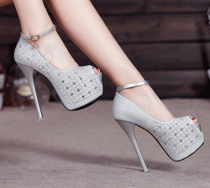New Women's Super High Heel 16 cm Waterproof Shoes diamond wedding shoes Super High Platform Spikes Pumps Gold Black