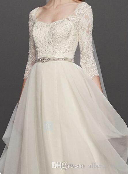 주문 제작 A 라인 웨딩 드레스 엑스트라 길이 Oleg 카시니 Organza 볼 가운 드레스 3 / 4 슬리브 스타일 웨딩 신부 드레스