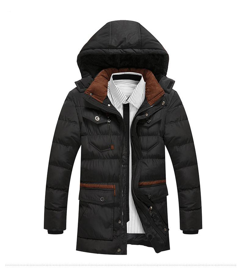 Men's Trench Parka Youth Causal Hooded Cotton Padded Jacket Thicken Coat Male Four Pocket Windproof Waterproof Warm Jacket Men