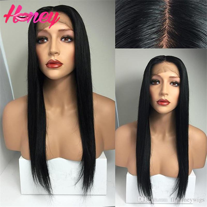 8A Middle Part Lace Front Wig Brazilian Full Lace Wig With Baby Hair Silky Straight Full Lace Human Hair Wig For Black Women