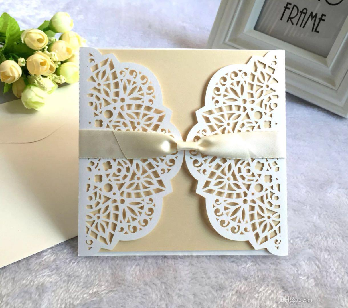 affordable laser cut wedding invitations bachelorette party invitation cards with envelope and blank card