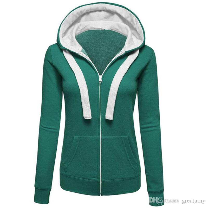 Mode 2017 Europe style filles pull solide fermeture éclair veste à manches longues femmes cordon de serrage manteau à capuche dame casual polaire