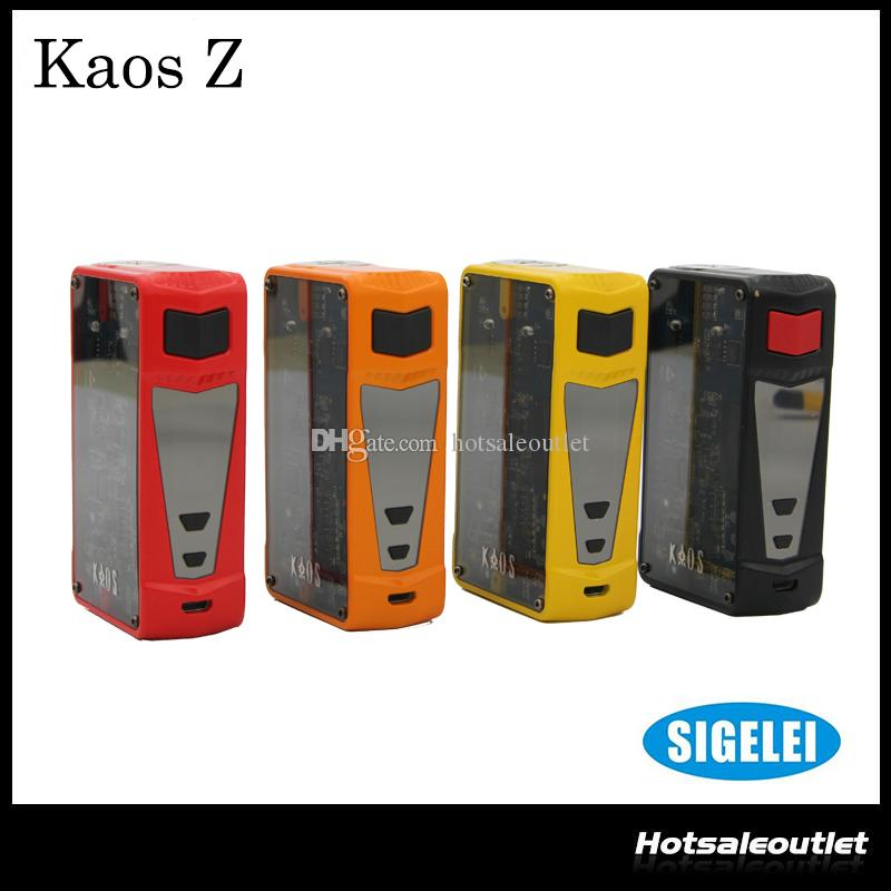 Authentic Sigelei Kaos Z 200W TC VW APV Box Mod with Transparent Side Panels and New LED Lighting Features 100% Original