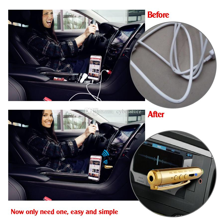 Wireless Bluetooth Audio Receiver Adapter Pen Car 3.5mm Aux Rceiver Handsfree 3.5mm Jack Mini Car Kit Clip- on for Iphone 8