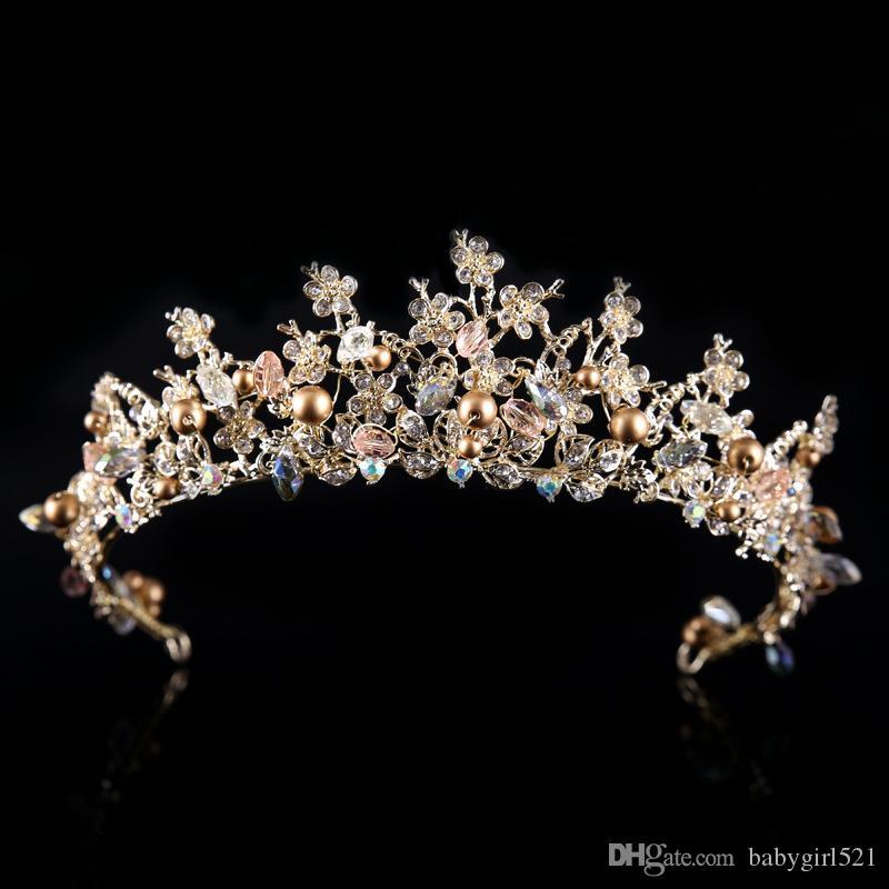 Großhandel Antike Goldene Hochzeit Barocken Kronen Mit Perlen Strass Luxus Brautschmuck Kopfschmuck Ohrring Für Formale Party Stirnband Mode Neu Von