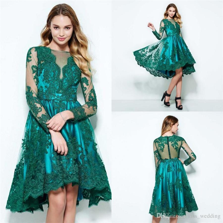 Vintage Emerald Green Dress Evening Wear Long Sleeve Sheer Neck ...