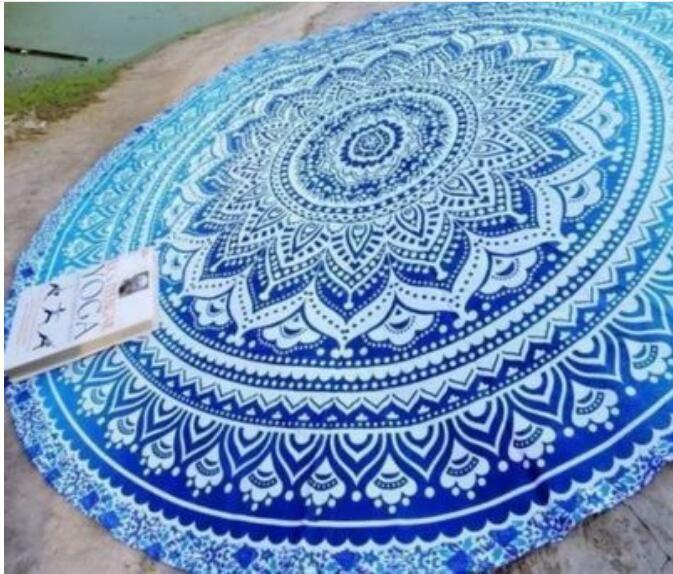 Rotonda forma di fiore di loto mandala arazzo appeso a parete floreale stampato spiaggia tondo asciugamano asciugamano hippie zingara yoga stuoia coperta 150 cm