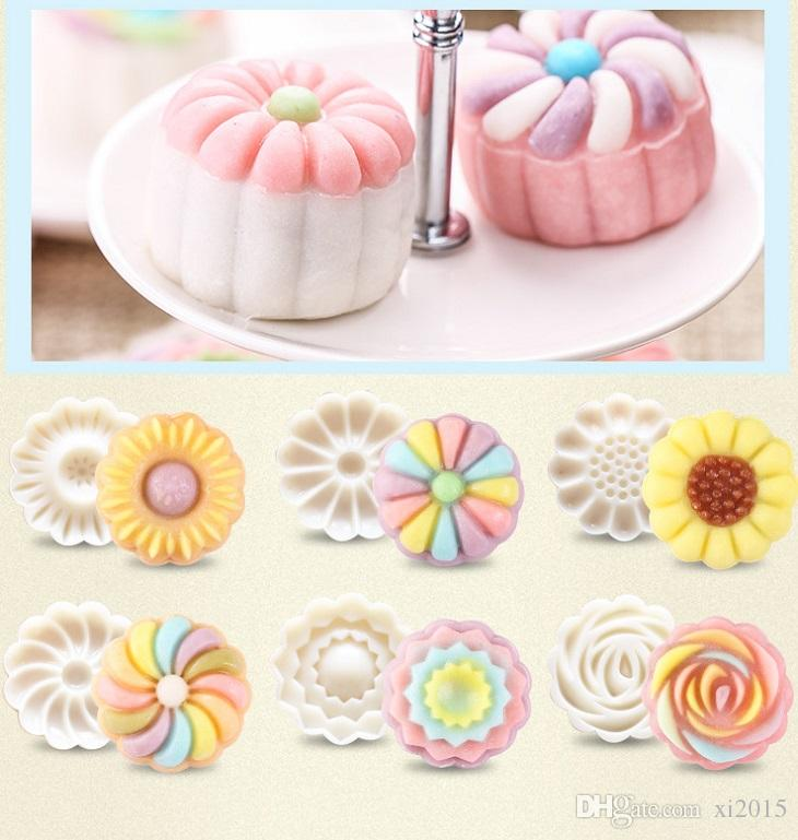 / set 3D Moon Cake Mould 1 Presse à Main avec 6 Fleurs 50g Mi Automne Arch Arch Moon Cake Moules wa4104