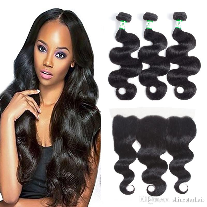 Brazilian Body Wave Human Hair Extensions Unprocessed lace frontal with bundles Top Lace frontal Closure 13*4 Hair Weaves Frontal