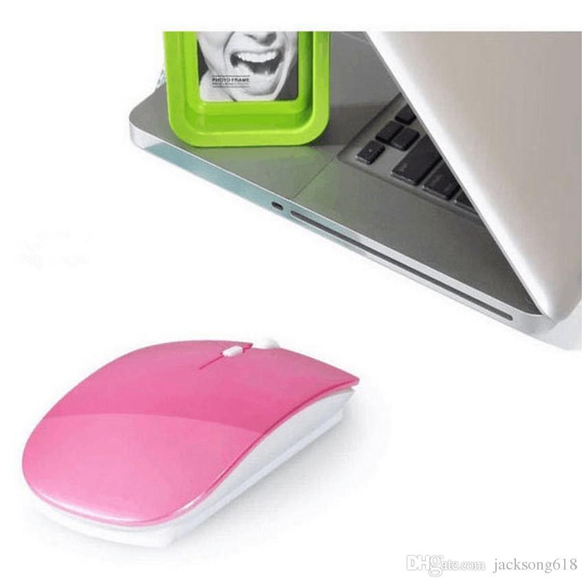 2016 kablosuz Mouse Ultra İnce USB Bilgisayar PC Dizüstü Masaüstü 6 renk Fareler 1adet / için Optik 2.4G Alıcı Süper İnce Fare