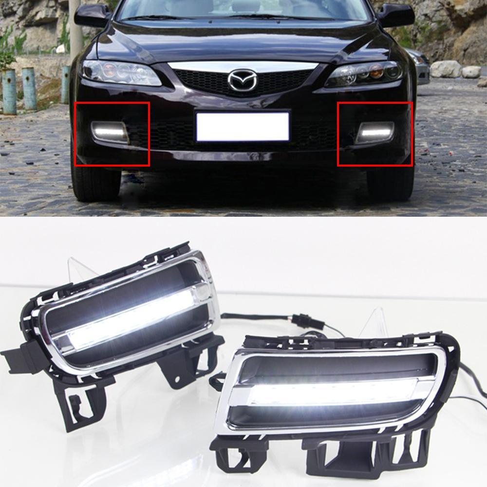 Car Drl Kit For Mazda 6 2006 2009 Led Daytime Running Light Bar Auto Fog Lamps Bulb External