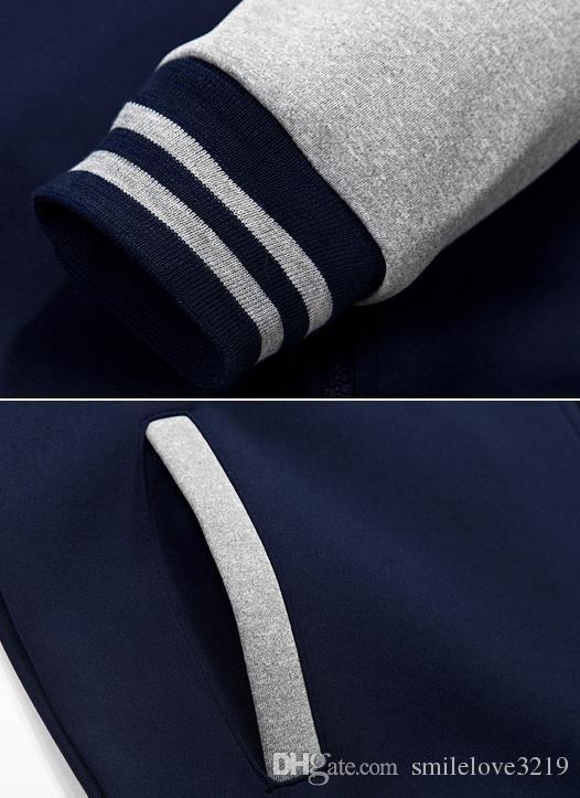 2016 년 가을 남성 정장 스웨터 기하학 무늬 정장 한국 야구 유니폼 칼라 맞춤법 색상 재킷 + 바지