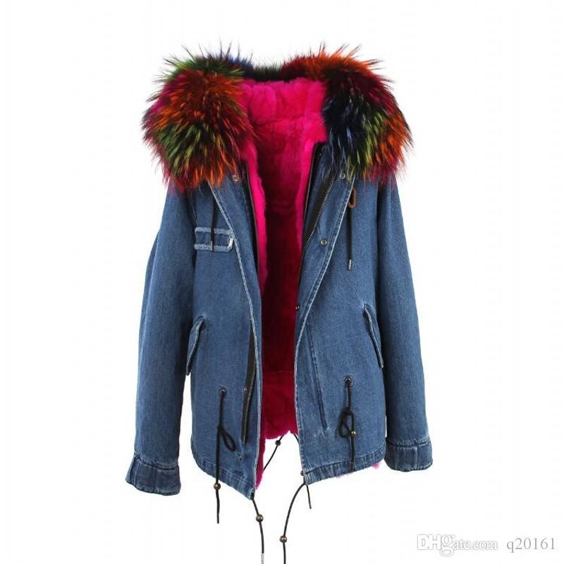 2017 yeni moda kadınlar lüks büyük rakun Yüksek kaliteli gerçek yaka ceket tilki kürk hood ile sıcak kış ceket astar parkas uzun üst