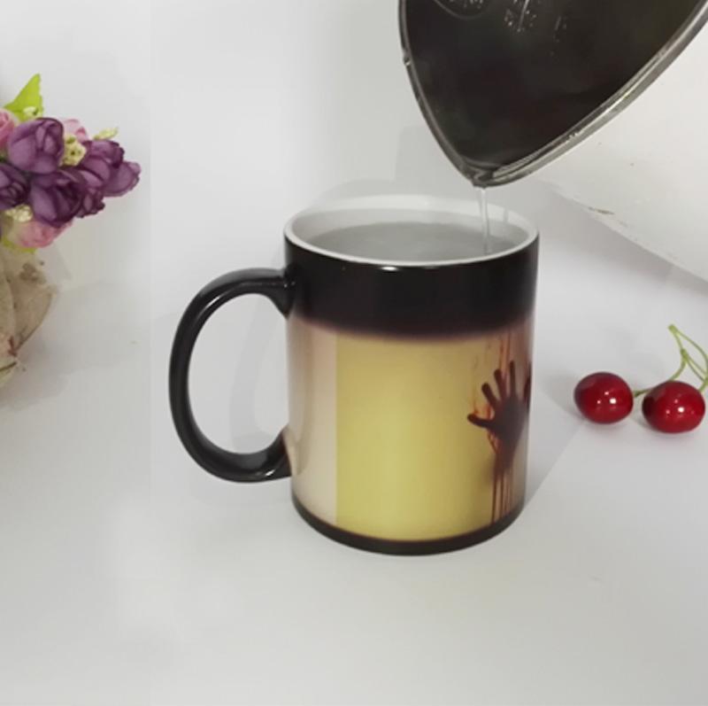 diy photo magic color changing coffee mug printing with walking dead