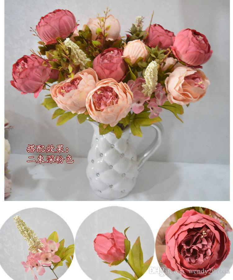 colorful High-grade flowers peony simulation European Silk Core autumn peony flowers suits for table decoration display flower