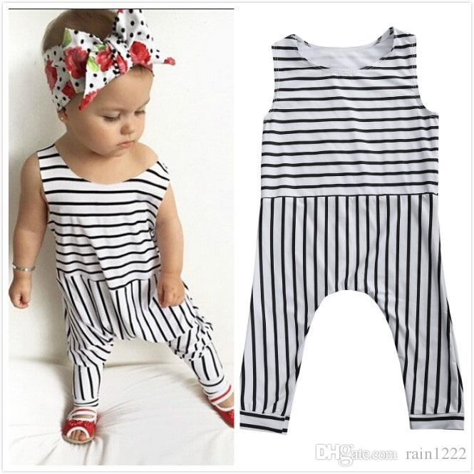 2019 New Girls Baby Striped Rompers Jumpsuits Children Kids