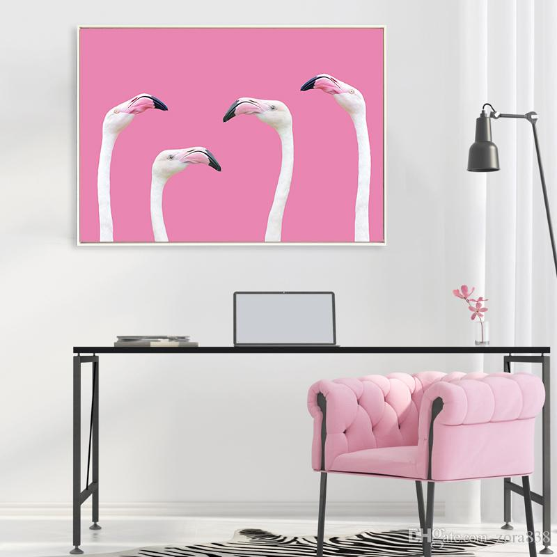 2018 Simple Nordic Ornament Paintings Flamingos Home Children\'S Room ...