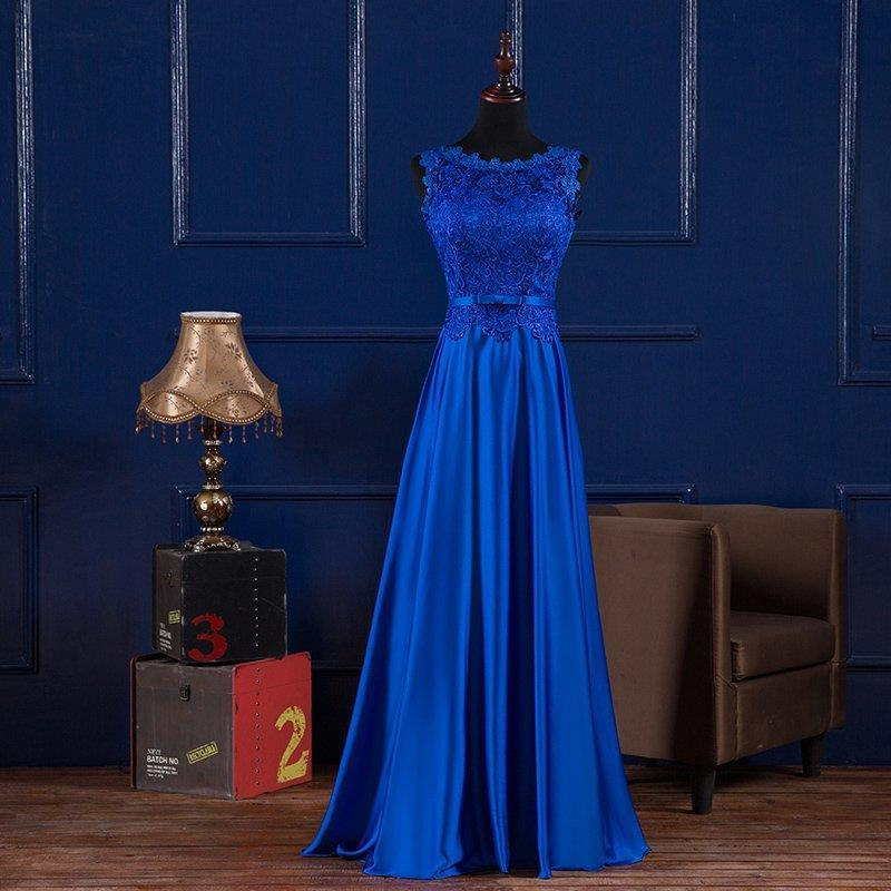 Scoop Neck Lace Satin Evening Dresses Long Royal Blue Burgundy 2019 Floor Length Formal Dress Abendkleider