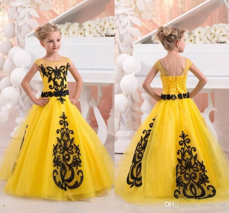 New 2017 Yellow Tulle Princess Flower Girls Dresses For Weddings Birthday Party Cheap Black Applique Floor Length Little Girl Dress EN10062