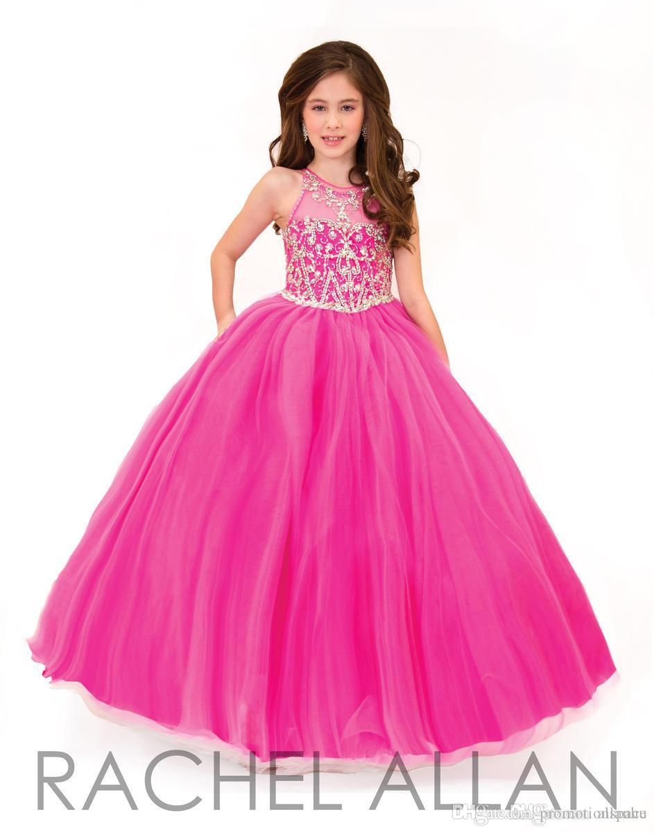 2016 Rachel Allan Beautiful Fuchsia Ball Gown Girls Pageant Dresses for Teens Beading Crystal Girls Formal Party Dress Gowns