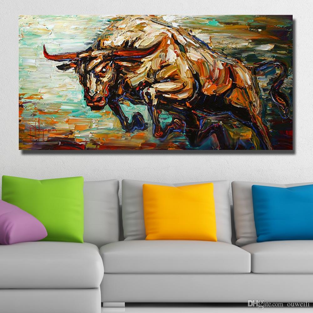 100% hand painted high quality cheap price chinese famous running cow oil painting canvas cow wall pictures for living room