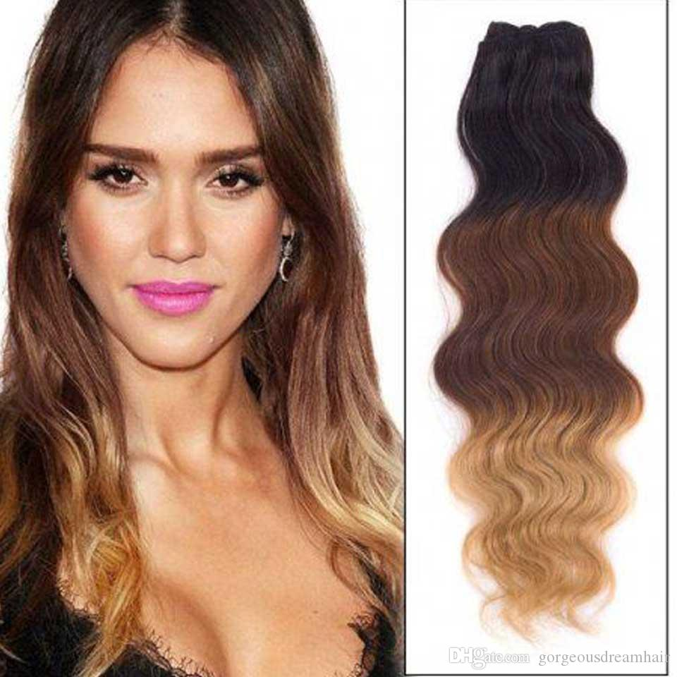 Black to Brown to Blonde Ombre Body wave Clip in Human Hair Extensions 7pcs 120g Clip Hair Extensions Double Weft 1B/4/27
