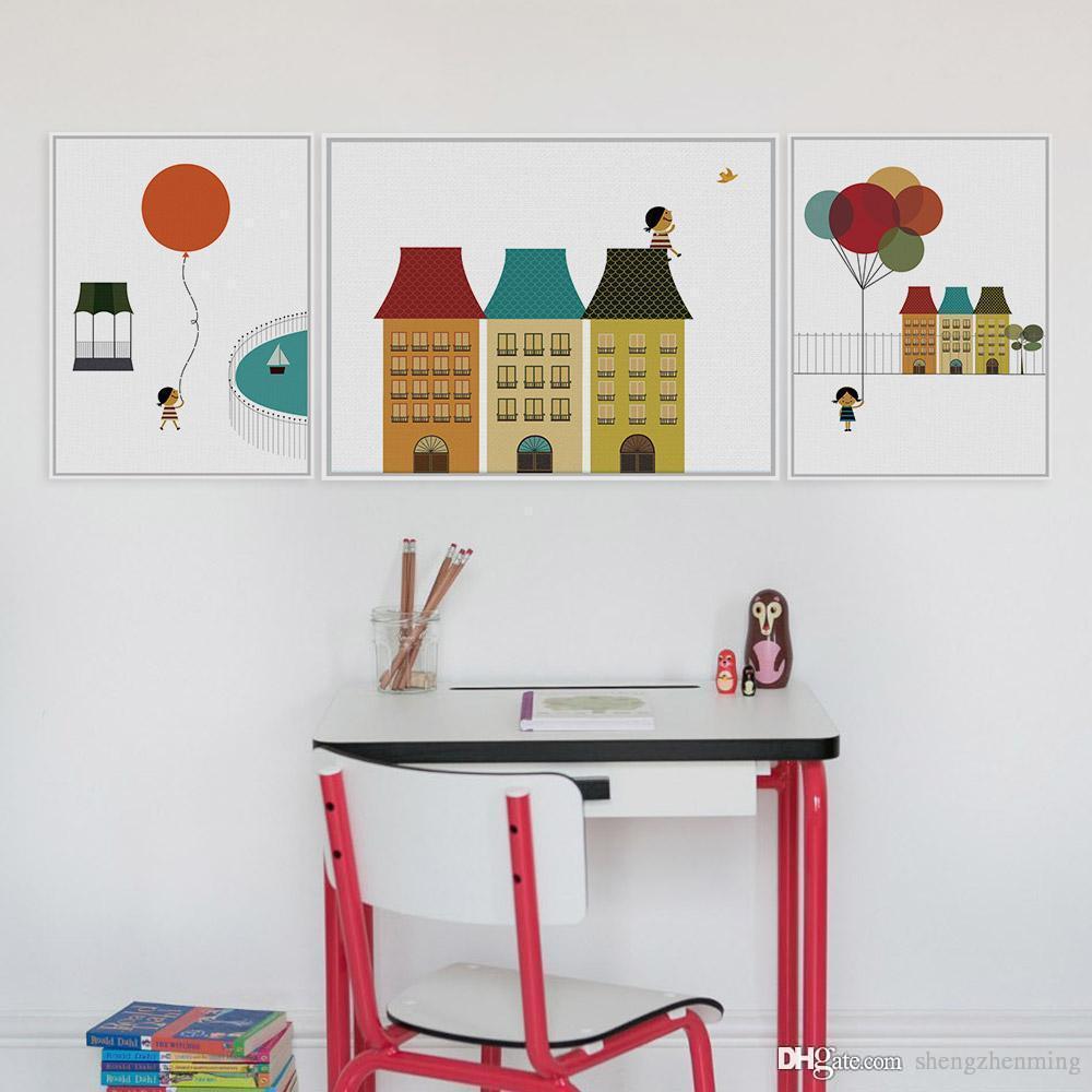 2018 3 Panel Modern Minimalist Ballons Poster Print Dream Girl ...