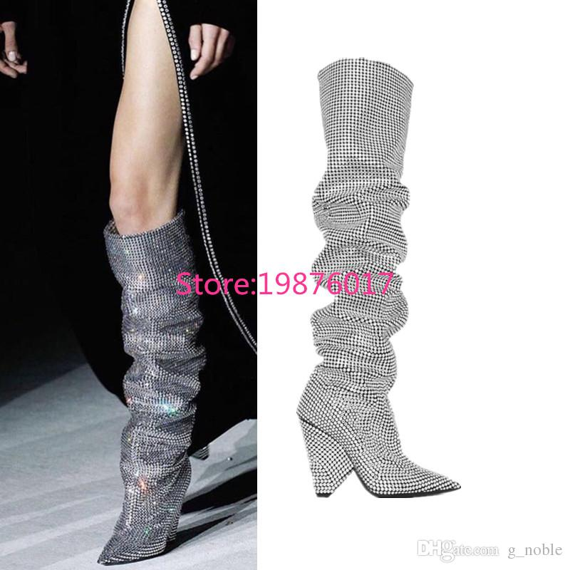Trendy New Designer Fashion Cone Heel Bling Bling Thigh High Boots Sexy  Celebrity Beading Pointy High Heel Boots Wedge Booties Boots Sale From  G noble cbb86852c120
