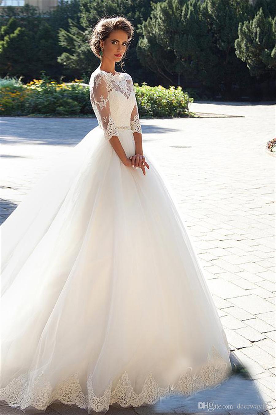 BATEAU 3/4 긴팔 티셔츠 진주 얇은 명주 그물 공주 저렴한 신부 볼 가운 플러스 사이즈 나라 빈티지 레이스 Millanova 2020 웨딩 드레스