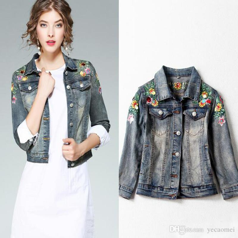 2017 Fashion Women Jeans Jacket Embroidery Floral Coat Top Quality