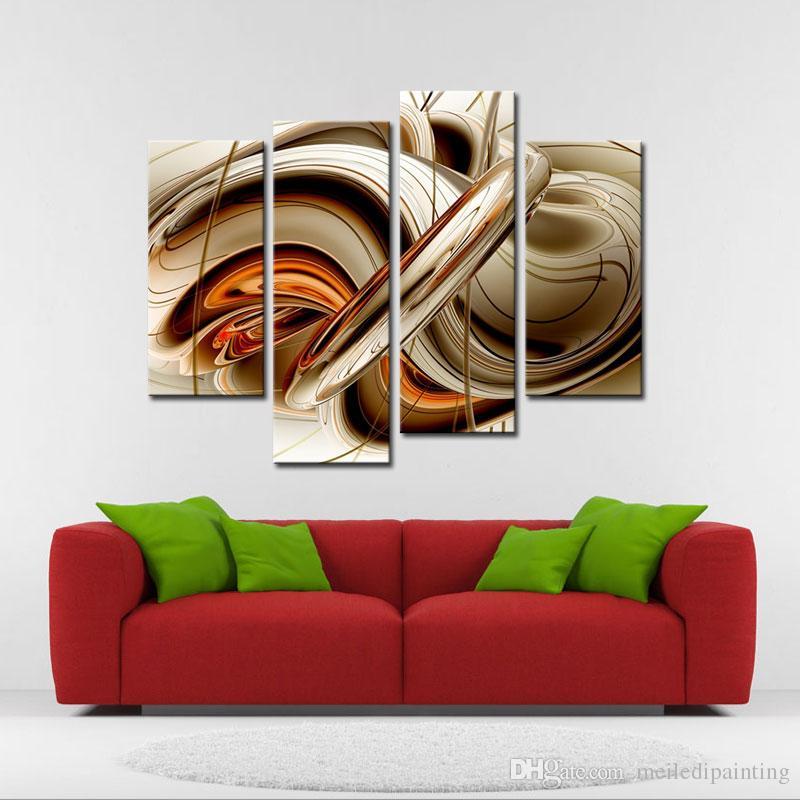 Amosi Art-4 Stück Wandkunst Malerei Set fließenden Linien moderne das Bild Druck auf Leinwand abstrakte Bild für Home Decor Holzrahmen