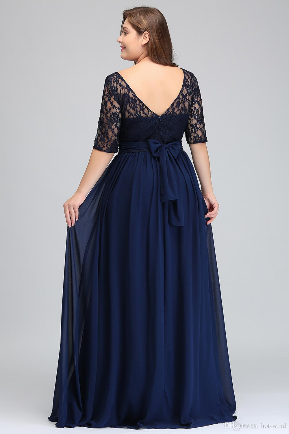 Dark Navy Black Burgundy Half Long Sleeves Plus Size Prom Dresses Lace Top A Line Chiffon V Back Mother of Bride Dresses Cheap Gowns CPS522