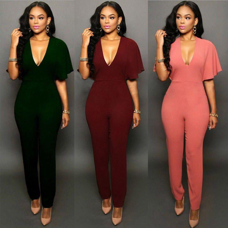 3b64f2cc081e1 Wholesale- 2016 New Women Clubwear V-neck Jumpsuits Party Slim Fit ...