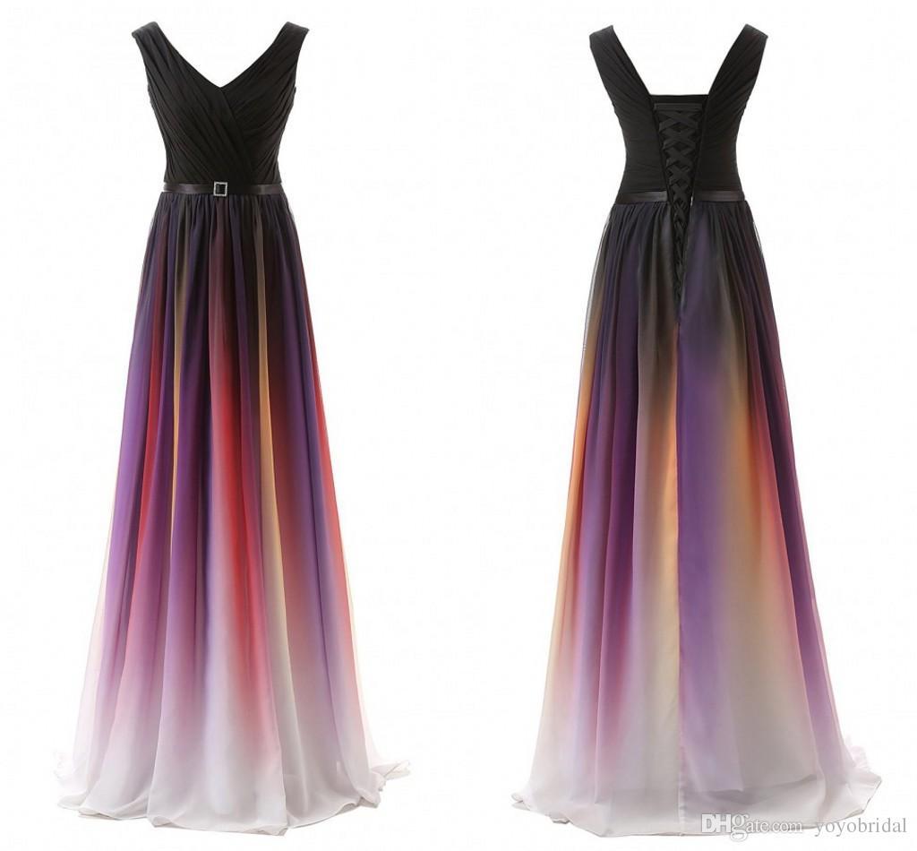 Prom Dress Gradient Ombre Dresses Long Evening Wear Sash Chiffon ...