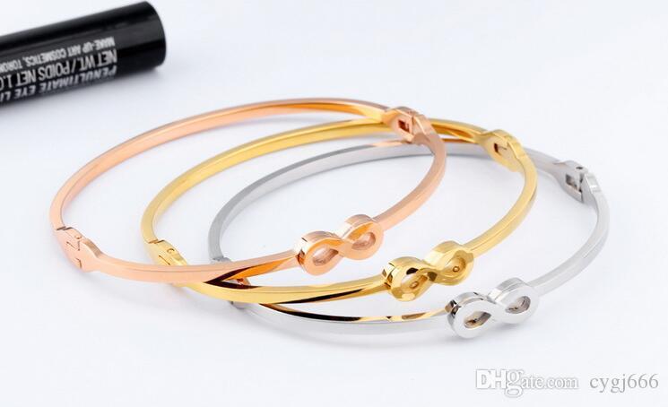 Europe and the United States fashion bracelet female models three colors optional titanium steel 8 word bracelet wild Valentine 's Day gift