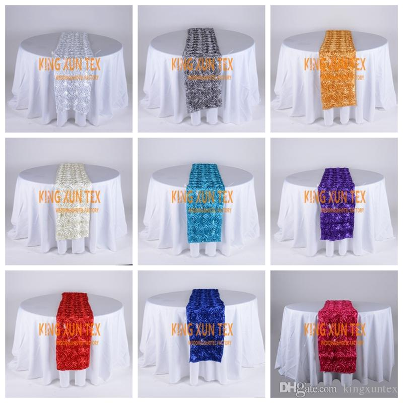 Satin Rosette Table Runner Fit On Table Cloth For Wedding And Event Decoration
