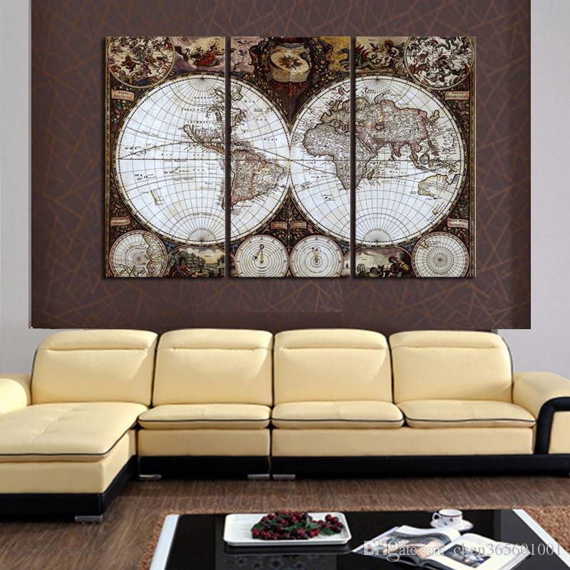 3 P Wall Art Map Restoring Ancient Ways Picture HD Top-rated Canvas Print Painting Paintings Home Decoration