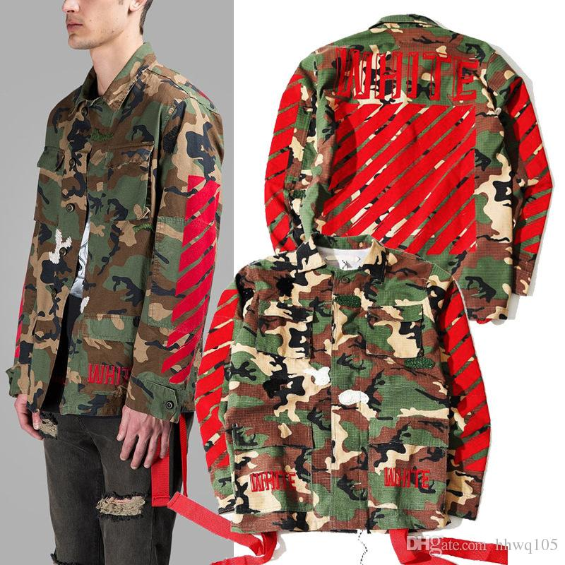 Off White C/O Virgil Abloh Camo Jacket Striped Letter Print Trench ...
