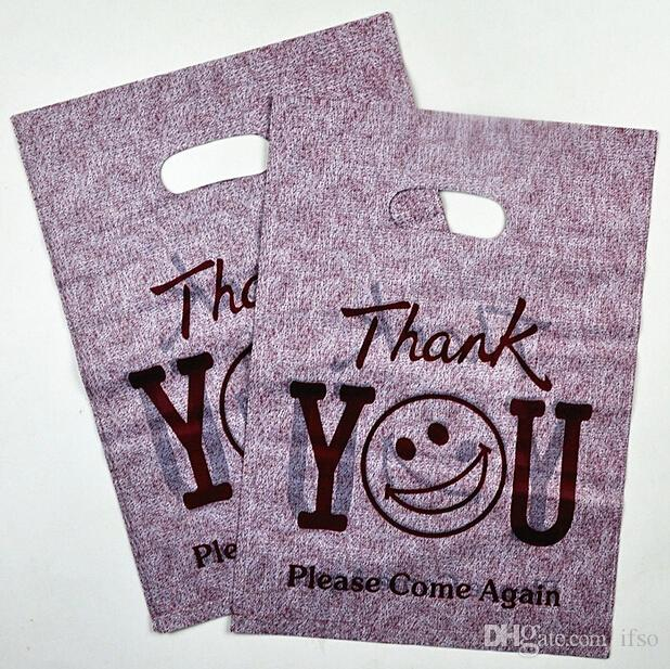 "Wholesale-""thank you"" Printed Plastic Recyclable Useful Packaging Bags Shopping Hand Bag Protable Boutique Gift Carrier"