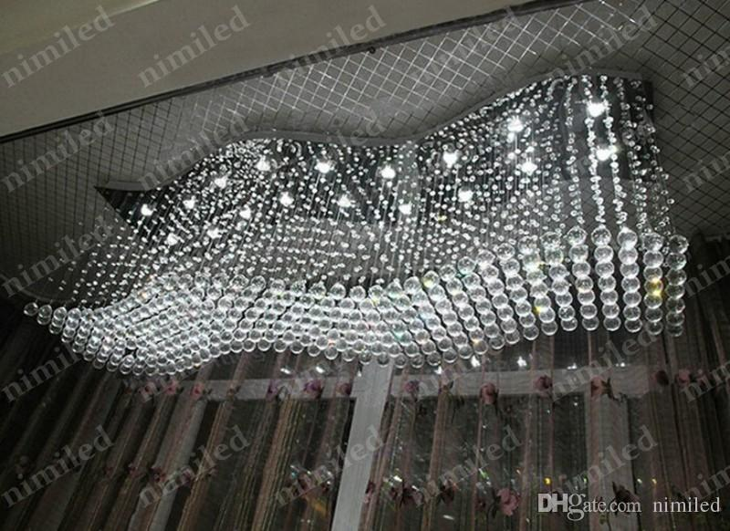 nimi747 L120 * W40 * H65cm 럭셔리 K9 크리스탈 레스토랑 바 램프 LED 천장의 파도 빌라 샹들리에 레스토랑 펜던트 조명 호텔 조명