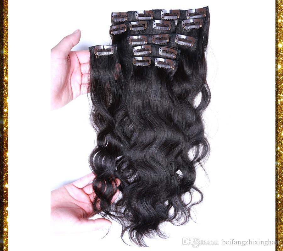 7а Реми клип в человеческих волосах 70г 100г 120г 140г 160г 180г 7/8 / 10шт девственницы бразильского тела Волна 1# jet черный клип в наращивание волос dhl бесплатно
