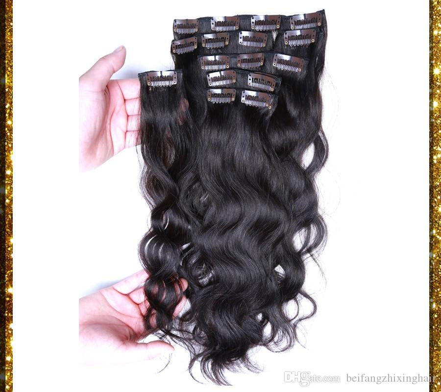 7A Remy Clip In Human Hair 70g 100g 120g 140g 160g 180g 7/8/Virgin Brazilian body wave 1# jet black Clip In Hair Extensions dhl free
