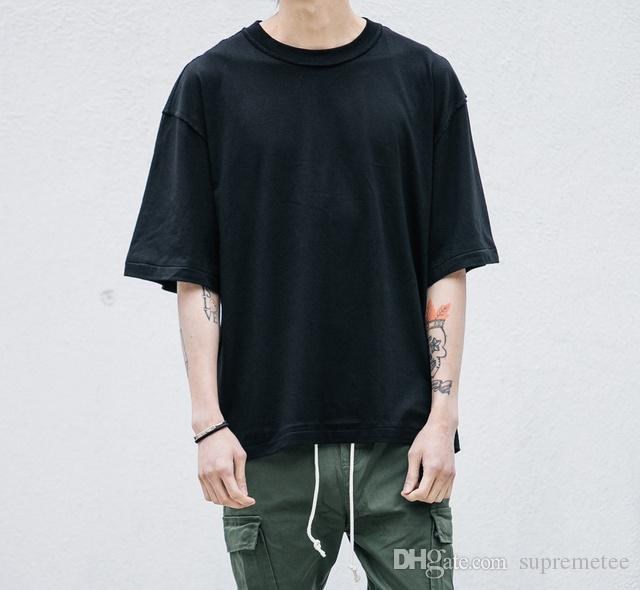 216c2edb Blank Oversized T Shirt Fashion Kanye West Solid Loose T Shirts Hip Hop  Streetwear Mens Half Sleeve Summer Clothing Trendy T Shirts For Men Shirts  Funny ...